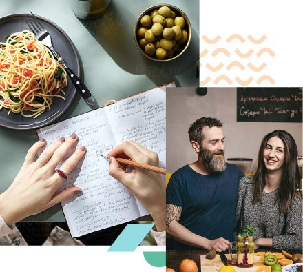Collage of notebook writing and a couple in a restaurant